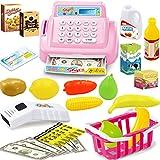 Winni43Julian Supermarktkasse Spielzeug Set , 18 Stück Registrierkasse Rollenspiel Spielzeug mit Einkaufskorb, Spiel Kassen für Kinder mit Scanner , Kaufladen Kasse Kinder Spielzeug