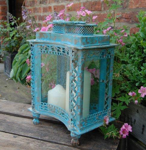 vintage-style-blue-metal-storm-lantern-antique-finish-candle-holder
