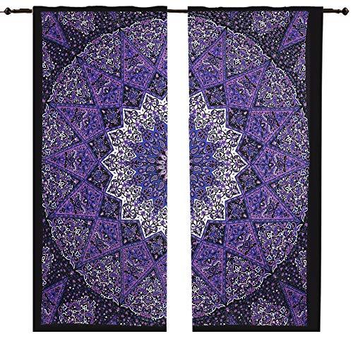 Juego de cortinas de mandala con diseño de estrella morada y elefante