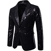 Mens Sequin One Button Fit Suit Jacket Metallic Casual Blazer Nightclub Style Long Sleeve Shiny Dance Tops Disco Varsity…