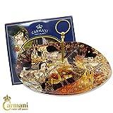 CARMANI - 4-Fach Glasplatte mit Griff, Snacks, Party Essen, Nüsse, Platte dient, durch Gustav Klimt 32.5cm