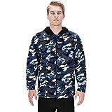 DISHANG Men's Hooded Fleece Jacket Warm Coat Full-Zip Military Army Camo Outerwear Tactical Outdoor Sweatshirts