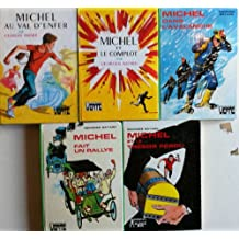 Sélection de 5 livres du héros enquêteur MICHEL de la bibliothèque verte : val d'enfer, et le complot, dans l'avalanche, fait un rallye, et le trésor perdu. Photo contractuelle.