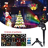Christmas Projector Lights,Sundlight 15 Patterns Sparkling Christmas Landscape Lights with Remote Control Waterproof Night Lighting Lamp for Christmas Halloween Decoration Outdoor Garden,Yard,Wall