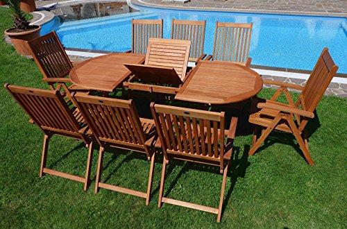 Edle Gartengarnitur Terassengarnitur Gartenset Gartenmöbel Holz Eukalyptus mit Ausziehtisch 140-180x100cm + 8 Hochlehner 7-fach verstellbar 'LIMA180-6EU-SET' von AS-S - 7