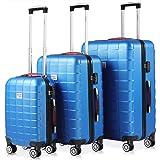 Set de 3 valises rigides Bleu 4 Roues 360° Bagage 2 poignées de Transport Plastique ABS Serrure Cadenas à Combinaison Malle V