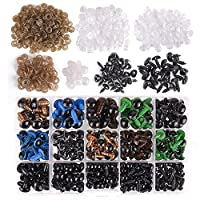KUUQA 320 Piece 6~12mm Colorful Safety Eyes Plastic Safety Eyes Plastic Eyes and 50 Piece Safety Noses with 370 Piece Washers for Doll, Puppet, Plush Animal