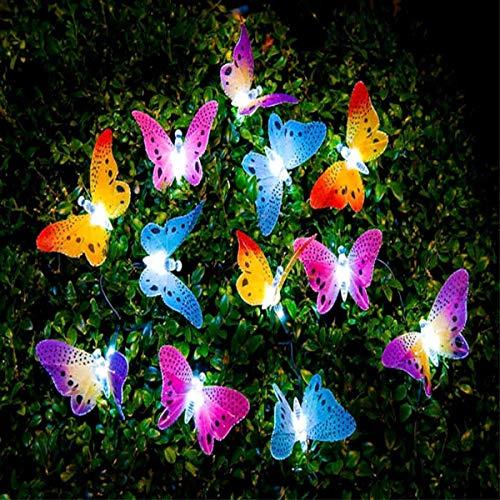 Zichen 20 LED Solar Schmetterling Strahler Garten im Freien dekorative Lichter wasserdicht Multicolor Faser Landschaft Lichter geeignet für Garten Rasen Garten Hochzeit Baum Emotion Lichter