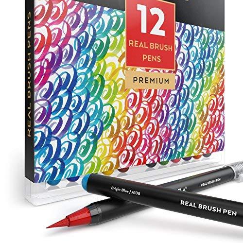 ARTEZA Caja de 12 rotuladores de pincel | Pinceles con tinta de agua | 12 colores individuales | Ideales para caligrafía y coloreado