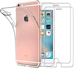 Yoowei Cover iPhone 6/iPhone 6s Trasparente + [2-Pack Pellicola Protettiva in Vetro Temperato], Molle di TPU Silicone Ultra Sottile Antigraffio Antiurto Custodia per iPhone 6s / iPhone 6