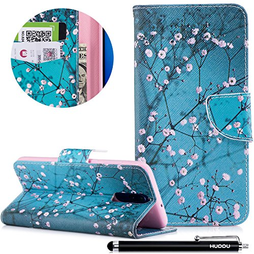 HUDDU Bunt Schutzhülle für Huawei Mate 10 Lite Hülle Pflaumenblüte Muster Slim Handyhülle Leder Tasche Wallet Case Cover Flip Kartenfach Magnetverschluss Stand Brieftasche Klapphülle Blau