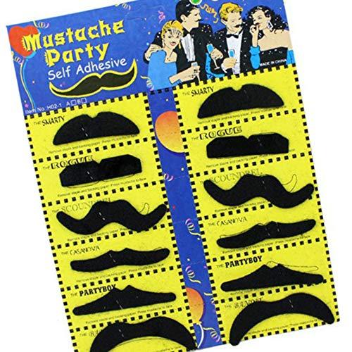 Ogquaton Falsche Bärte Selbstklebende pelzige Schnurrbärte Foto Requisiten Schnurrbart Party Supplies für Kinder Erwachsene Kinder 12 Pcs