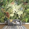 HONGYUANZHANG Europäische Vintage Handgemalte Regenwald Bananenblatt Fototapete Schlafzimmer Wohnzimmer Tv Hintergrund Wand Vlies 3D Wandbild,200cm (H) X 280cm (W) von HONGYUANZHANG bei TapetenShop