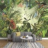 NXMRN Papier peint Feuille de banane de la forêt tropicale peinte à la main Photo Chambre à coucher Salon TV Mur de fond Mural 3D non tissé 150cmx100cm