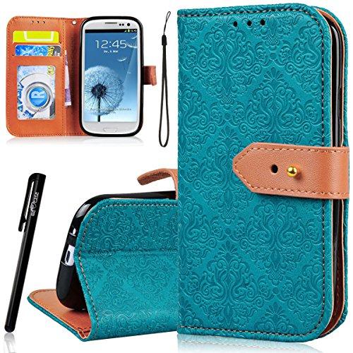 WE LOVE CASE Samsung Galaxy S3 Cover , Galaxy S3 Neo i9301 i9300 Custodia Fiore e Farfalla Modello Retro Style per Samsung Galaxy S3 i9300 / S3 Neo i9301 / S3 Neo GT-I9301 GT-i9300 Smartphone Flip PU Leather Design Internamente Silicone TPU Cassa Caso Bumper Protettiva Copertura Anti-Scratch Shockproof Portafoglio Bookstyle con Supporto di Libro Stand / Carte Slot / Chiusura Magnetica + Stylus Pen(Verde)