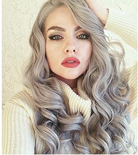 61cm Silber Grau Body Wave Kunsthaar-Perücken Spitze vorne Mitte, Natural klebefreien Hitzebeständige Kunstfaser Ersatz Perücke für Frau