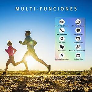 AIMIUVEI Pulsera de Actividad Inteligente, Pulsera Actividad Reloj Inteligente Mujer Hombre con Monitor de Sueño, Podómetros, Cronómetros,Notificación de Mensaje, Impermeable IP67 para iOS y Android