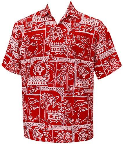 La-Leela-Ropa-de-Playa-Hawaiana-Botn-de-La-Manga-Corta-de-Los-Hombres-Abajo-Hawaiano-5XL-Rojo-Camisa-Hawaiana
