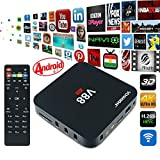 EMISH v88 4k android tv box Rockchip 3229 Quad-Core (1.5GHZ) Android 5.1 Amlogic KODII(XMBC) 16.1 Fully Loaded Wifi Bluetooth Funktionen Internet Streaming Media Player, Schwarz