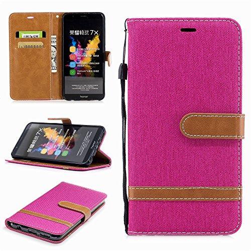 Ooboom® Huawei Honor 7X Hülle Stilvoll Flip PU Leder Handy Tasche Case Cover Schutzhülle Wallet Brieftasche Ständer für Huawei Honor 7X - Rose