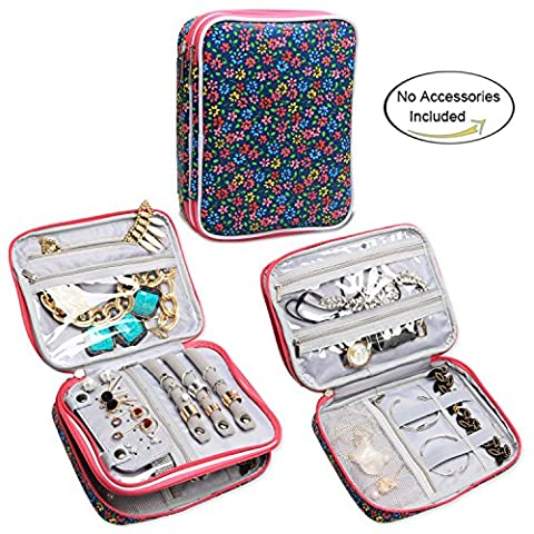 Teamoy Jewellery Organiser, Travel Jewellery Case with Storage Space for Necklaces, Bracelets, Earrings, Rings, Chains and more, Double Layer, Lightweight and Easy to Carry, Flowers Blue