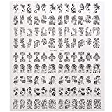 Bluelover 108Pcs 1 Feuille De Fleur Dentelle Autocollant Nail Art Sticker Décalcomanie Décoration-Noir