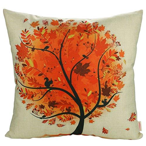 Luxbon Gelb Herbst Leben Baum Kissenbezug Wurfkissenbezug Pillowcase Cafe Haus Zimmer Auto Deko 18 x 18 '' (Luxus-bett-kissen)