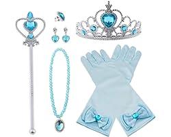 Vicloon Princesa Vestir Accesorios 8Pcs Regalo Conjunto de belleza corona Sceptre Collar Pendientes Anillo Guantes para Niña