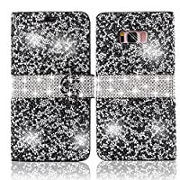 For Samsung Galaxy S8 Plus Diamond Wallet Case,Vandot Folio Flip PU Leather Cover Practical Magnetic Closure Pattern Exclusive 3D DIY Bling Glitter Shinning Rhinestone Scratch-Resistant Shock-Absorbing Full-body Slim Fit Protective Cover-Sparkle Black