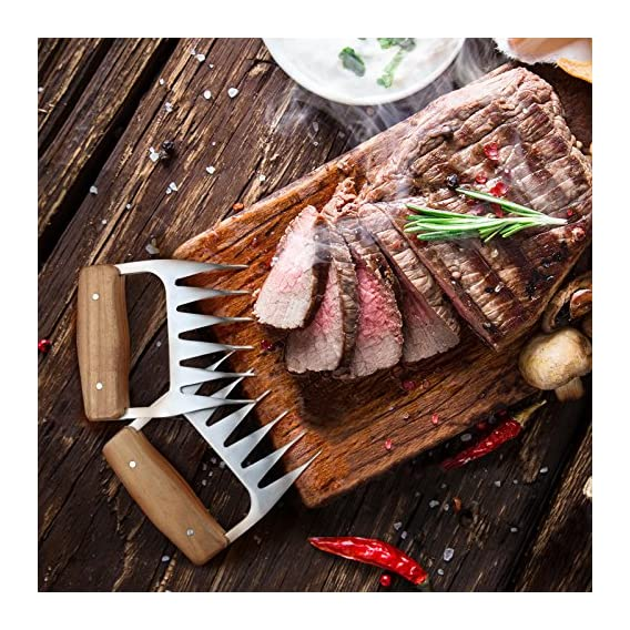 1easylife Edelstahl Pulled Pork Krallen Uerst Formstabile Meat Claws Fleischkrallen Mit Wooden Handle Grill Fleischgabel Bbq Grill Party Gabeln Fr Gebratenes Fleisch Bpa Frei Hygienisch Und Einfach Re