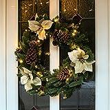 Außen/Innen Beleuchteter Weihnachtskranz mit Weihnachtssternen und Kiefernzapfen, 60cm, von Festive Lights (Gold)