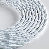 Klartext - Cavo tessile trecciato LUMIÈRE per illuminazione, 3x0,75mm, Bianco Opaco, 3mt. Attenzione: cavo terra incluso! Mas