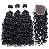 Yavida Human Hair Bundles with Closure Water Wave Hair Weave Brazilian Curly Human Hair Extensions Total 340g Locken Echthaar Natural Color 8 10 12+8 Inch