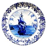 #3: Delftware Dutch Blue Pottery Ship Inspired Home Décor Wall Plate 10