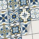 Sticker carrelage Adhésif - Autocollants muraux pour Carreaux de Ciment I Revêtement Mural pour carrelage Salle de Bain et Credence Cuisine (20x25 cm I 18 - Pièces)