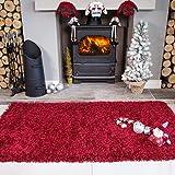 Ontario Wine Red Fireside Fireplace Mantelpiece Hearth Shaggy Shag Fluffy Living Room Area Rug