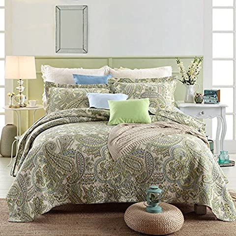 Beddingleer King Size Paisley Jacquard Style 3-Piece 100% Cotton Patchwork Queen Quilts and Bedspreads (#3)