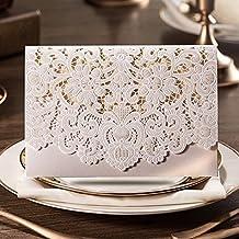 PONATIA 25 PCS Kit di lusso per tagliare i blocchi di carta per i biglietti da visita con flore invitati con busta e sigilli adesivi per la festa nuziale (carta bianca) (White Card) - Ivory Pearl Carta