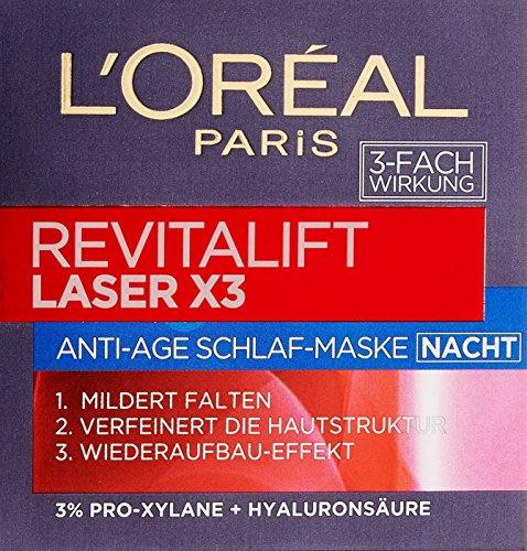 L'Oreal Paris Revitalift Laser X3 Nachtpflege, mit Hyaluronsäure, mildert Falten und strafft die...