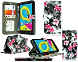 für Alcatel Onetouch Pixi 4 (4,0 Zoll) Hülle, Kamal Star® Kunstleder Tasche PU Schutzhülle Tasche Leder Brieftasche Hülle Case Cover + Stylus (Pink Flower Dark Grey Book)
