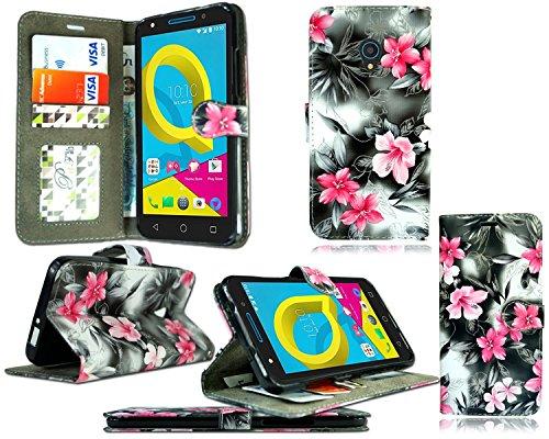 für Alcatel Onetouch Pixi 4 (4,0 Zoll) Hülle, Kamal Star® Kunstleder Tasche PU Schutzhülle Tasche Leder Brieftasche Hülle Case Cover + Stylus (Pink Flower Dark Grey Book)