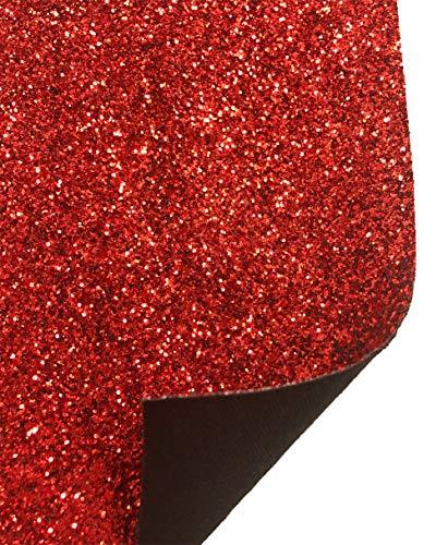 A-Express Glitzer Stoff glänzend Glitter Bastel Bastelstoff Klebemittel Folie Wanddekoration Vinyl Blatt Material - Rot Volle Rollen (210mm x 1350mm)