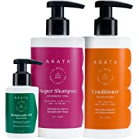 Arata Intensive Hair Fall Control Kit With 5 in 1 Anti-Hairfall Super Shampoo (300ml), Conditioner (300Ml) & Hempocado…