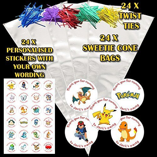 44th street 24 personalised various pokemon characters diy do it yourself sweet cones birthday party favour bags de3