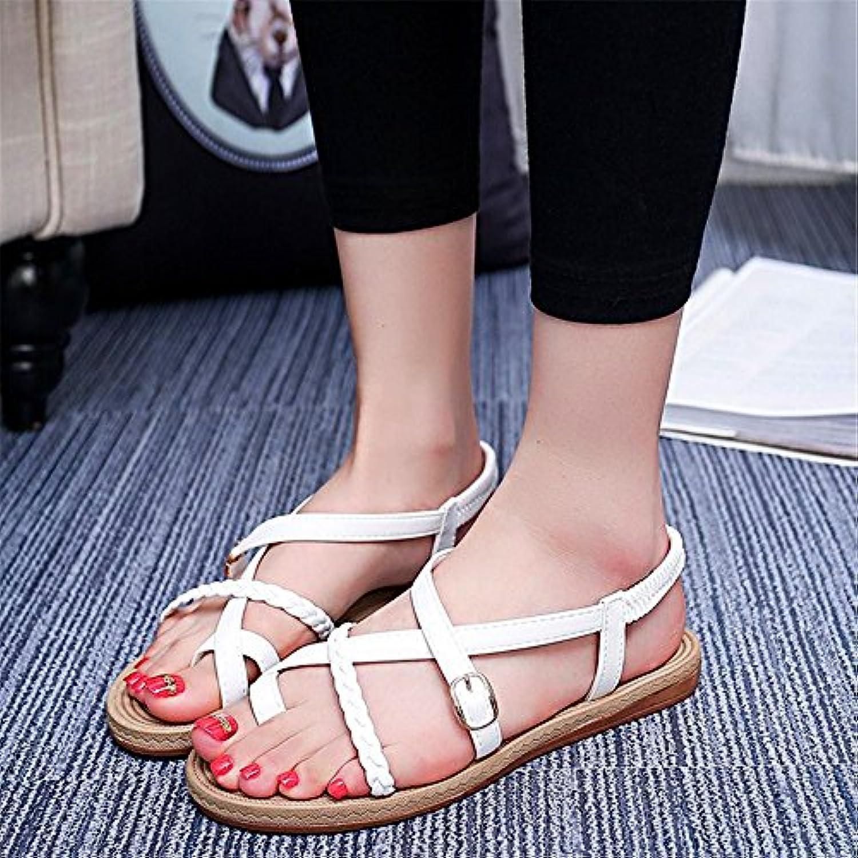 ShangYiWeißliche koreanische Version der feinen Mode Roman Schuhe flache Tanga Sandalen Damenschuhe