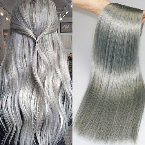 7pezzi 120g/set extension di capelli umani, grigio argento clip in extensions capelli umani dritto