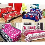 Shop4indians Super Saver Combo Pack Of 4,3D Glace Cotton Double Bed Sheets With Pillow Covers.