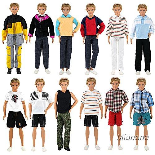 Miunana 5 Sets Kleid Kleidung Tops Jacke Hosen Fashionistas für Barbie Puppen KEN (Kleidung Puppe Braut)