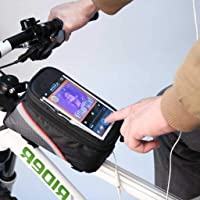 Bridge2Shopping Bicycle Front Frame Bag with Touch Screen Pocket, 7 Inch' x 3 Inch'