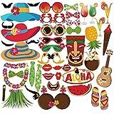 Puissance Ferhd 45 pcs Funny Tropical Summer Poule Photo Booth Props Hawaii Carnaval Photo Booth Décoration de fête d'anniversaire Fournitures